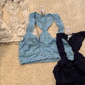 Trio of Free People lace bralettes
